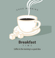 banner for breakfast time with a cup of coffee vector image vector image