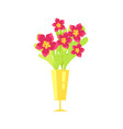 beautiful flowers in vase icon vector image vector image