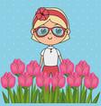 beautiful girl in the roses garden kawaii vector image vector image