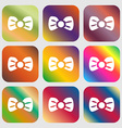 Bow tie icon sign Nine buttons with bright vector image vector image