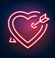 bright heart neon sign retro neon heart sign vector image vector image
