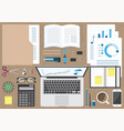 business workspace top view vector image