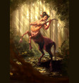 centaur play on guitar in forest vector image
