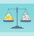 coins and on the scale vector image vector image