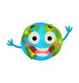 cute cartoon laughing earth planet emoji happy vector image