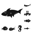design of sea and animal sign collection vector image