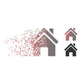 destructed pixel halftone home building icon vector image vector image
