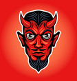 devil head colored with white stroke vector image vector image