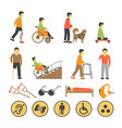 disabled people and necessary equipments with vector image vector image