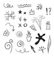 doddle design elements set hand drawn vector image