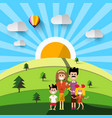 family on field natural landscape vector image vector image
