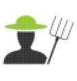 farmer with pitchfork halftone icon vector image