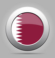 flag of qatar shiny metal gray round button vector image vector image