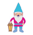 gnome with colorful costume and hand lamp with vector image vector image