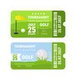 golf sport ticket set vector image vector image