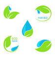 green leaves and water droplets icons vector image vector image