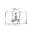 Hand drawn stylish woman with shopping bags vector image vector image