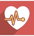 Heart Pulse Flat Long Shadow Square Icon vector image