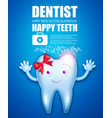 helthy tooth cartoon character stomatology vector image vector image