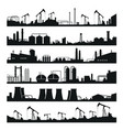 industrial factories panorama set black building vector image vector image