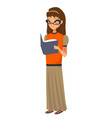 isolated young caucasian girl reading book vector image