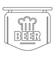 label of beer icon outline style vector image