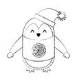 line icon christmas penguin cartoon vector image vector image