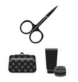 makeup and cosmetics black icons in set collection vector image vector image