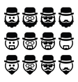 Man in hat with beard and glasses icons set vector image vector image