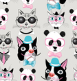 pattern retro hipster animal portraits vector image vector image