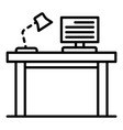 pc homework table icon outline style vector image