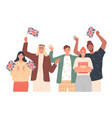 people holding english flags studying english vector image
