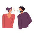 people wearing masks and talking coronavirus vector image vector image