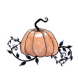 pumpkins and dark ivy leaves watercolor vector image vector image
