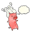 smelly cartoon pig with thought bubble vector image vector image
