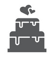 stacked cake glyph icon dessert and love vector image vector image