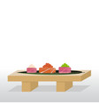 sushi stand with sashimi salmontuna vector image