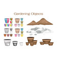 terracotta flower pots with soil and pebble vector image vector image