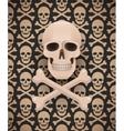 Huge skull on seamless dark pattern vector image