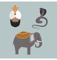 India animals and budda icons vector image
