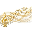 Musical notes staff background on white vector image