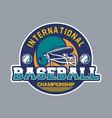 baseball badge logo emblem international vector image vector image