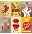 Bbq Flat Poster Set vector image vector image
