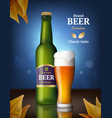 beer alcohol poster drink bottles and glasses vector image