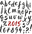 Black and red hand writing lettering alphabet vector image