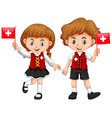 boy and girl with switzerland flag vector image vector image