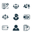 business management icons set with business vector image vector image