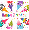 card with owls with birthday party hats vector image