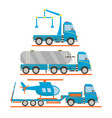 cartoon transport set tow truck tank car lorry vector image