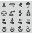 Charity and donation black icons set vector image vector image